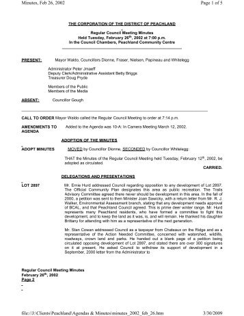 Page 1 of 5 Minutes, Feb 26, 2002 3/30/2009 file://J:\Clients ...