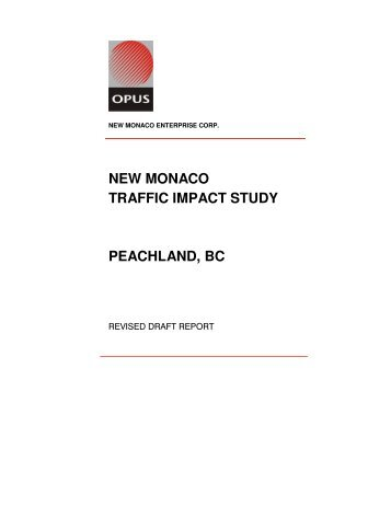 new monaco traffic impact study peachland, bc - District of Peachland