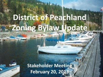 District of Peachland Zoning Bylaw Update