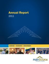 MSFG 2011 Annual Report - MainSource Bank