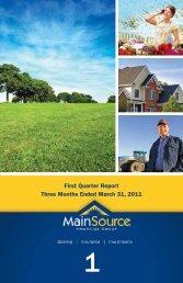 1st Quarter 2011 - MainSource Bank