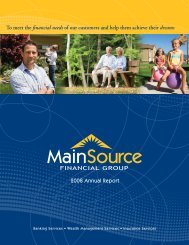MSFG 2008 Annual Report - MainSource Bank