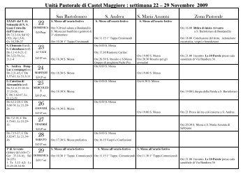 Unità Pastorale di Castel Maggiore : settimana 22 – 29 Novembre ...