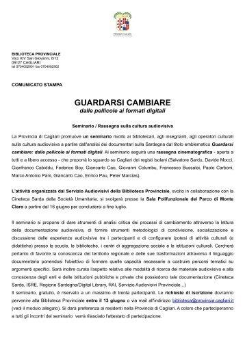 Comunicato stampa (file .pdf) - Biblioteca Provinciale di Cagliari