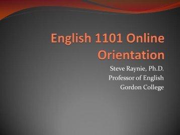 English 1101 Online Orientation - Gordon State College