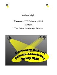 Download a copy of this evening's programme here! - Oswestry School
