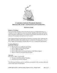 california lifeline telephone service: program ... - Consumer Action
