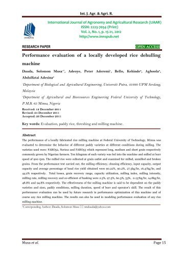 Performance evaluation of a locally developed rice dehulling machine