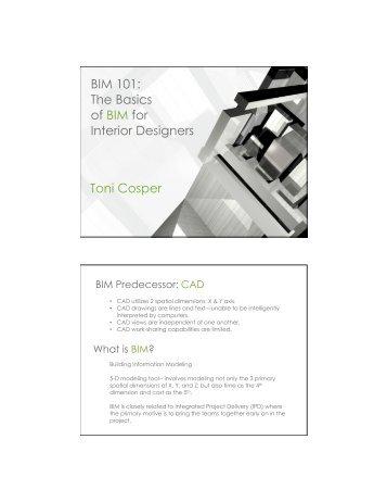 BIM 101: The Basics of BIM for Interior Designers Toni ... - MetroCon
