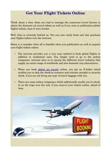 Get Your Flight Tickets Online