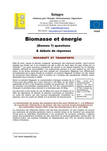 Biomasse et énergie (Bonnes !?) questions & débuts de ... - CSA