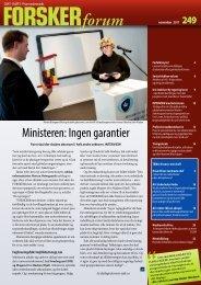 Ministeren: Ingen garantier - FORSKERforum