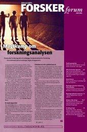 Magtkamp om forskningsanalysen - FORSKERforum