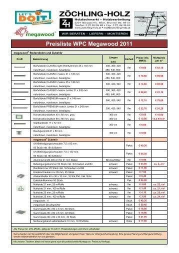 Preisliste WPC Megawood 2011