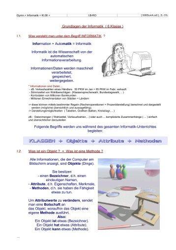 KLASSEN + Objekte + Attribute + Methoden - gidwa
