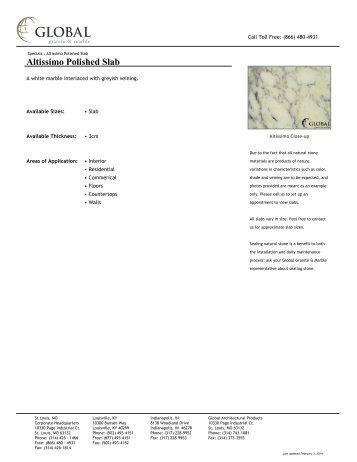 Altissimo Polished Slab - Global Granite & Marble