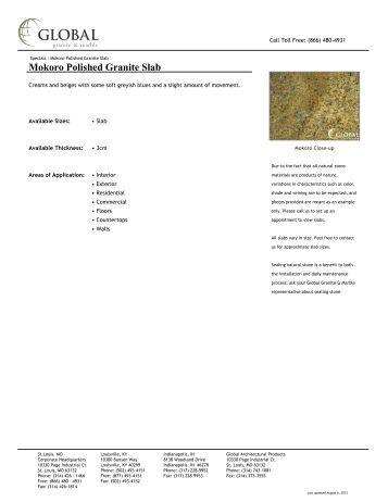 Mokoro Polished Granite Slab - Global Granite & Marble