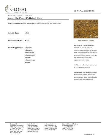 Amarillo Pearl Polished Slab - Global Granite & Marble