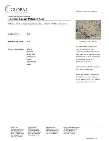 Toscano Cream Polished Slab - Global Granite & Marble