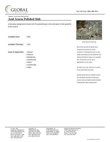 Azul Araras Polished Slab - Global Granite & Marble