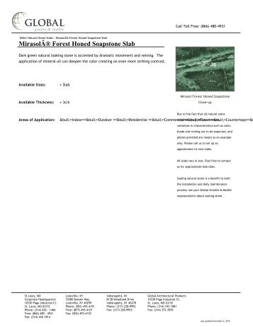 Mirasol® Forest Honed Soapstone Slab - Global Granite & Marble