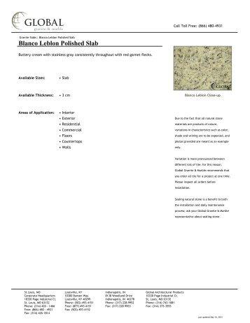 Blanco Leblon Polished Slab - Global Granite & Marble