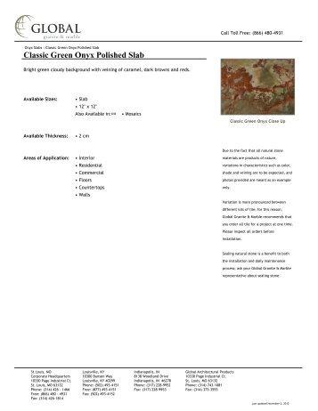 Classic Green Onyx Polished Slab - Global Granite & Marble