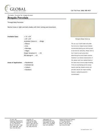 Bengala Porcelain - Global Granite & Marble