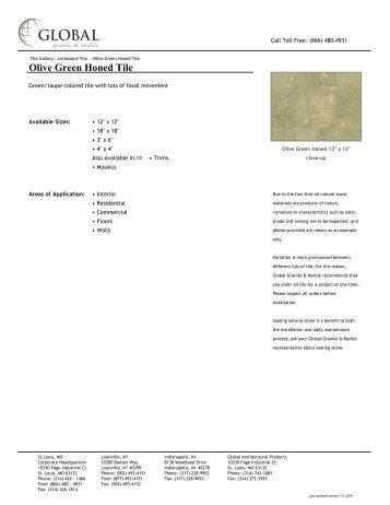 Olive Green Honed Tile - Global Granite & Marble