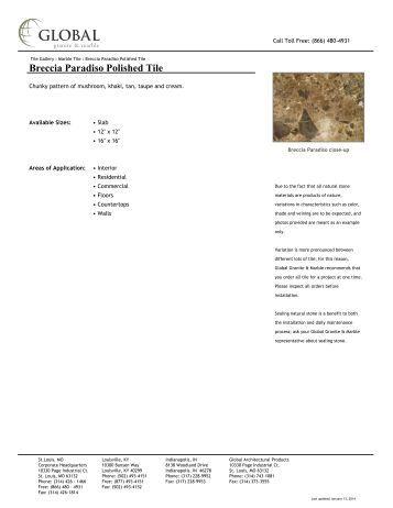Breccia Paradiso Polished Tile - Global Granite & Marble
