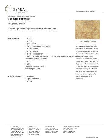 Tuscany Porcelain - Global Granite & Marble