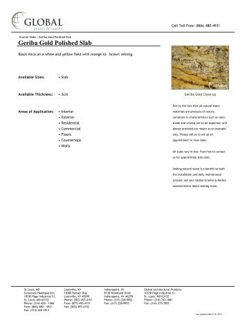 Geriba Gold Polished Slab - Global Granite & Marble