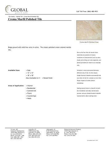 Crema Marfil Polished Tile - Global Granite & Marble