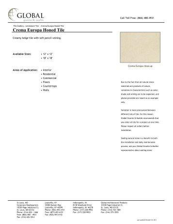 Crema Europa Honed Tile - Global Granite & Marble