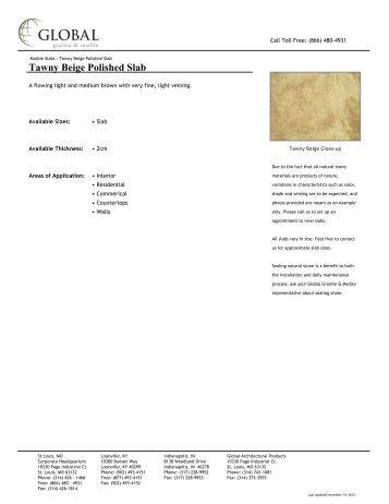 Tawny Beige Polished Slab - Global Granite & Marble