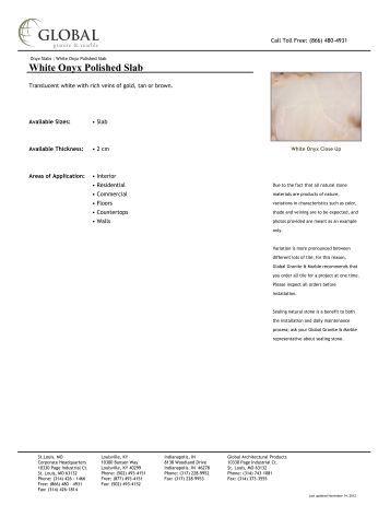 White Onyx Polished Slab - Global Granite & Marble