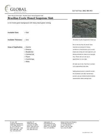 Brazilian Exotic Honed Soapstone Slab - Global Granite & Marble