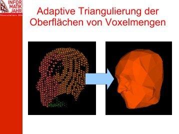 Adaptive Triangulierung der Oberflächen von Voxelmengen