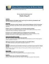Peace Negotiations Watch- Volume VI, Number 9, April 12, 2007