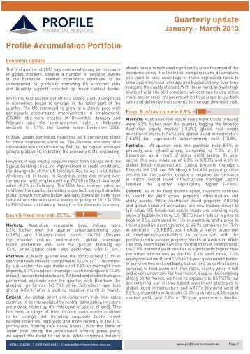 Profile Accumulation Portfolio Quarterly update January - March 2013