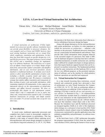 LLVA: A Low-level Virtual Instruction Set Architecture - CiteSeerX