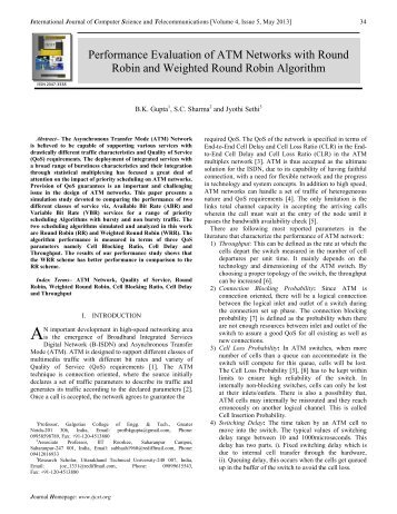 Performance Evaluation of ATM Networks with Round Robin and ...