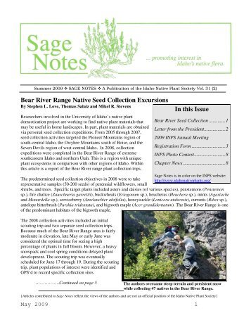 Vol 31(2) - Summer 2009 issue - Idaho Native Plant Society