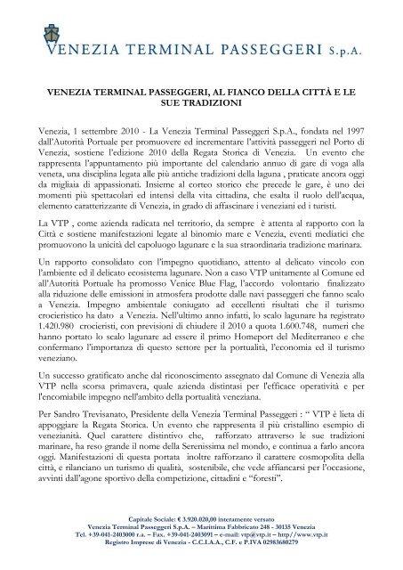 Vtp Calendario Navi.2010 09 01 Regata Storica Pdf Venezia Terminal Passeggeri