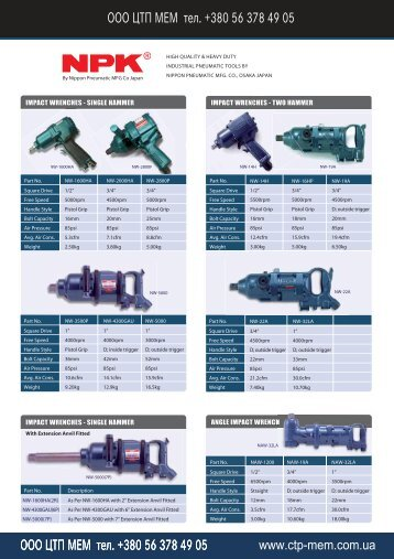 ITMS 2009 Catalogue NPK Heavy Duty Air Tools