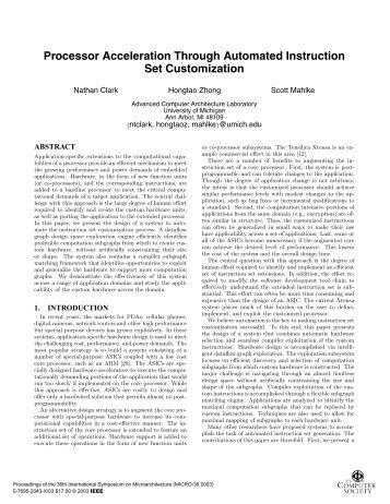 Processor Acceleration Through Automated Instruction ... - CiteSeerX
