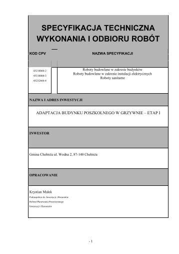 SPECYFIKACJA TECHNICZNA - STWIOR - Gmina Chełmża