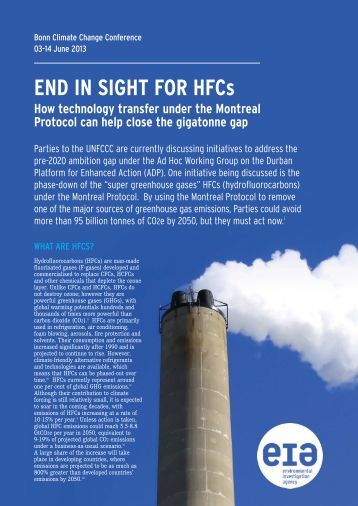 END IN SIGHT FOR HFCs - Environmental Investigation Agency