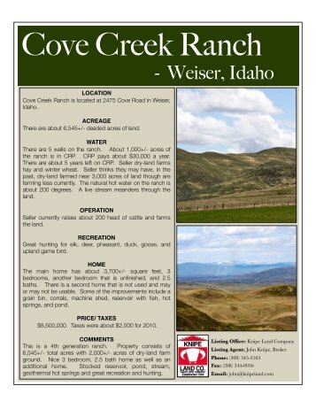 Cove Creek Ranch edit - Knipe Land Company