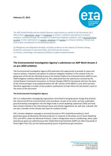 The Environmental Investigation Agency's submission on ADP Work ...